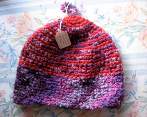 red and purple hat